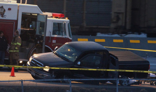 Rick Egan  | The Salt Lake Tribune   A man was shot on I-15 near Layton, after a  high speed chase, Monday, February 25, 2013.