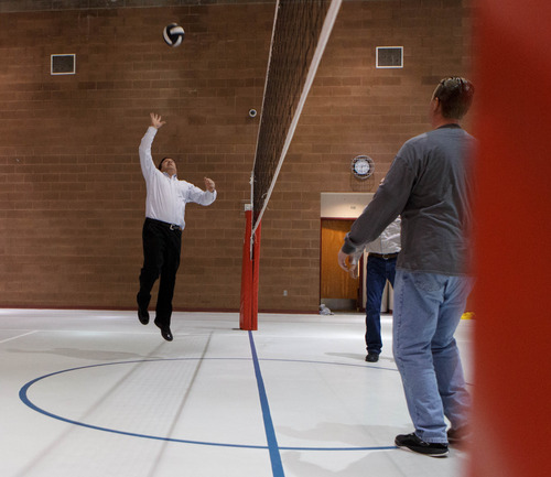 Trent Nelson  |  The Salt Lake Tribune William E. Jessop leaps up for the volleyball as a group of FLDS members gather to recreate at El Capitan School, Sunday, February 17, 2013 in Colorado City.