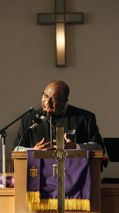 Scott Sommerdorf  |  The Salt Lake Tribune Pastor Charles T. Wright preaches at Trinity AME Community Church Founders Day service Sunday, February 23, 2013.