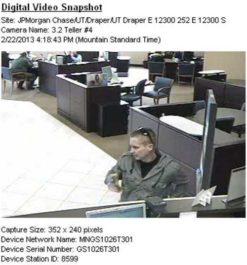Courtesy Draper Police Department Surveillance footage of a man suspected of robbing a Chase Bank in Draper on Feb. 22. Police on Monday shot and killed the suspected bank robber after a high-speed chase that crossed through three counties and snarled I-15 traffic for hours.