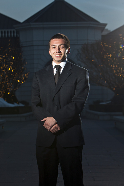 Chris Detrick     The Salt Lake Tribune Chris Quintana poses for a portrait before the Hispanic Scholarship Dinner at The Grand America Hotel in Salt Lake City Saturday February 16, 2013. Sen. Stuart Reid, R-Ogden is sponsoring SB53, legislation that would form a commission to track intergenerational poverty and devise ways to overcome it. Chris Quintana's family exemplifies intergenerational poverty, but with a lot of outside support Quintana has managed to break out of it. He lettered in three sports in high school, got into Brigham Young University on an academic scholarship, and recently returned from serving an LDS mission.