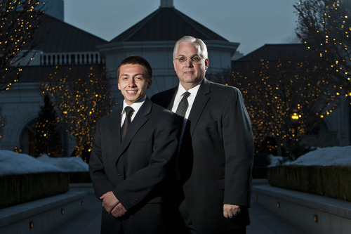 Chris Detrick     The Salt Lake Tribune Chris Quintana and Sen. Stuart Reid, R-Ogden, pose for a portrait before the Hispanic Scholarship Dinner at The Grand America Hotel in Salt Lake City Saturday February 16, 2013. Sen. Stuart Reid, R-Ogden is sponsoring SB53, legislation that would form a commission to track intergenerational poverty and devise ways to overcome it. Chris Quintana's family exemplifies intergenerational poverty, but with a lot of outside support Quintana has managed to break out of it. He lettered in three sports in high school, got into Brigham Young University on an academic scholarship, and recently returned from serving an LDS mission.