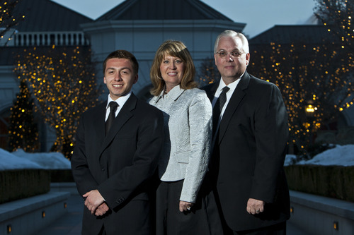 Chris Detrick     The Salt Lake Tribune Chris Quintana, Sen. Stuart Reid, R-Ogden, and Laura Reid pose for a portrait before the Hispanic Scholarship Dinner at The Grand America Hotel in Salt Lake City Saturday February 16, 2013. Sen. Stuart Reid, R-Ogden is sponsoring SB53, legislation that would form a commission to track intergenerational poverty and devise ways to overcome it. Chris Quintana's family exemplifies intergenerational poverty, but with a lot of outside support Quintana has managed to break out of it. He lettered in three sports in high school, got into Brigham Young University on an academic scholarship, and recently returned from serving an LDS mission.