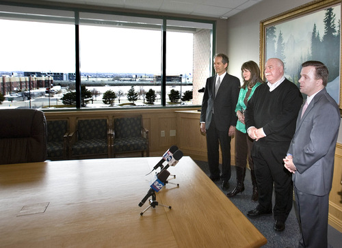 Paul Fraughton      Salt Lake Tribune  Standing in the conference room of the Sandy City Hall, Mark Dietlein, CEO and co founder of the Hale Center Theatre, Sally Dietlein, the theatre's vice president and artistic director, Sandy Mayor Tom Dolan, and Rob Brough, chairman of the theatre's board of trustees, announce the purchase, by the Hale Center Theatre, of  the land west of the city hall that can be seen from the window. The 11.5-acre site will be the future home of the theatre and other state-of-the-art performing spaces.  Monday, February 25, 2013
