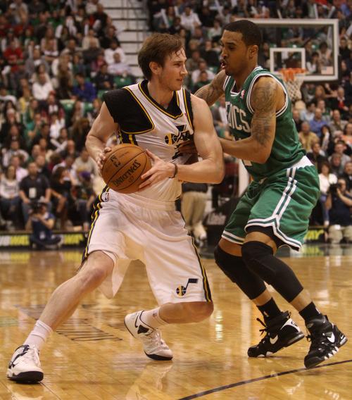 Rick Egan    The Salt Lake Tribune   Utah Jazz shooting guard Gordon Hayward (20) is fouledBoston Celtics shooting guard Courtney Lee (11) in NBA action at the EnergySolutions Arena,  Monday, February 25, 2013.