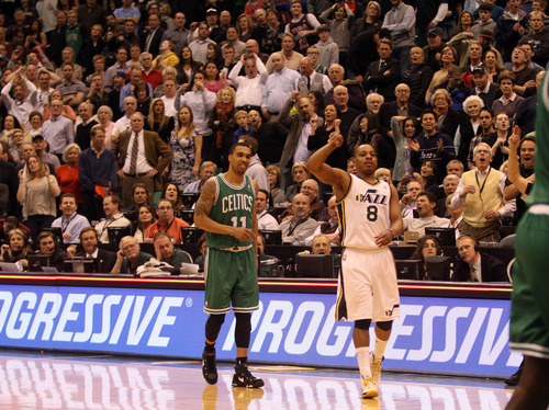 Rick Egan    The Salt Lake Tribune   Utah Jazz point guard Randy Foye (8) watches as his shot falls short, as the buzzer sounds, giving the Celtics a 110-107 overtime win, in NBA action at the EnergySolutions Arena,  Monday, February 25, 2013.
