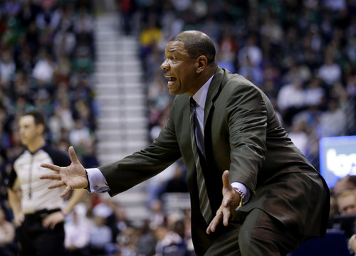 Boston Celtics' head coach Doc Rivers shouts to an official in the second half during an NBA basketball game against the Utah Jazz Monday, Feb. 25, 2013, in Salt Lake City. The Celtics defeated the Jazz 110-107. (AP Photo/Rick Bowmer)