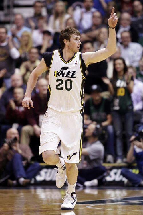 Utah Jazz's Gordon Hayward (20) runs upcourt after scoring against the Boston Celtics in the second quarter during an NBA basketball game, Monday, Feb. 25, 2013, in Salt Lake City. (AP Photo/Rick Bowmer)