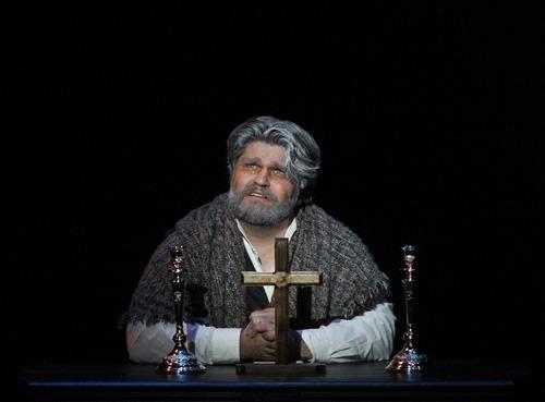 "Rick Egan  | The Salt Lake Tribune   J. Michael Bailey plays Jean ValJean in the Utah Shakespeare Festival production of ""Les Miserables."""