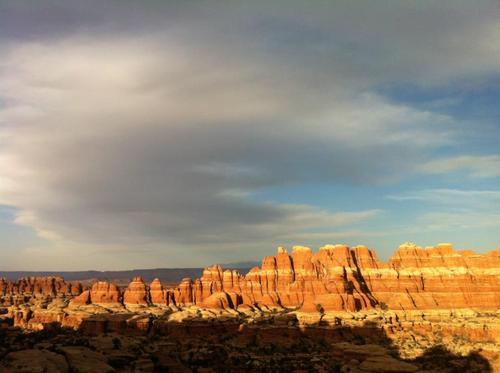 Courtesy of Shane Farver Shadows encroach on Chesler Park in Canyonlands National Park last March.