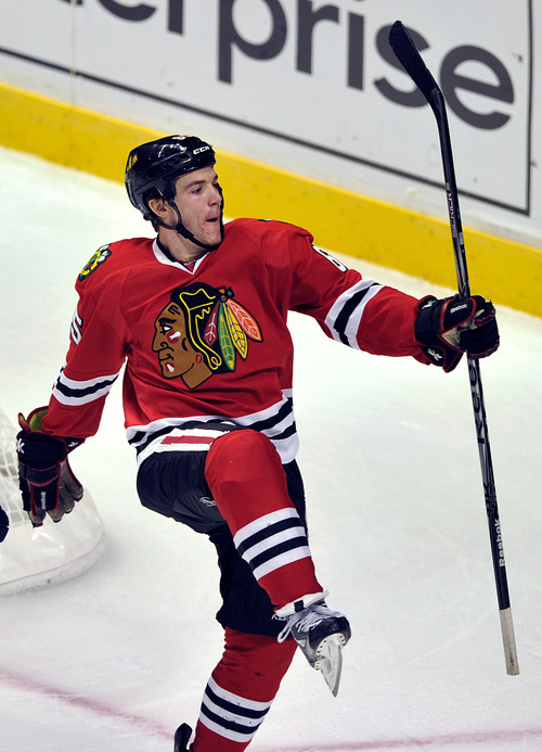 Chicago Blackhawks' Andrew Shaw celebrates his goal against the Columbus Blue Jackets during the second period of an NHL Hockey game Sunday, Feb. 24, 2013, in Chicago. (AP Photo/Jim Prisching)