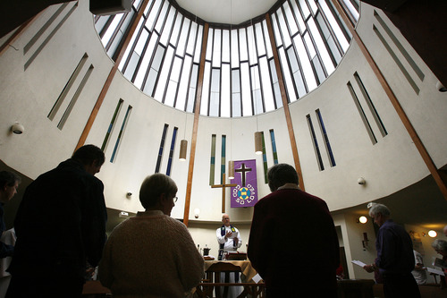 Scott Sommerdorf   |  The Salt Lake Tribune Services under way inside the distinctive circular design of Mount Tabor Lutheran Church in Salt Lake City, Sunday, Feb. 15, 2013. Local architect Charles Peterson, who still attends services there, designed the church.