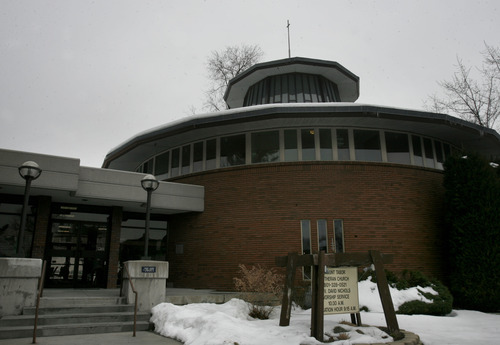 Scott Sommerdorf   |  The Salt Lake Tribune The distinctive circular design of Mount Tabor Lutheran Church in Salt Lake City, Sunday, Feb. 15, 2013. Local architect Charles Peterson, who still attends services there, designed the church.