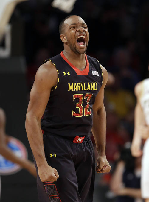 Maryland guard/forward Dez Wells (32) reacts after a Maryland basket in the first half of an NCAA college basketball game against the Georgia Tech, Wednesday, Feb., 27, 2013, in Atlanta.  (AP Photo/John Bazemore)