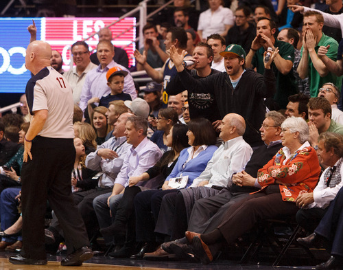 Trent Nelson  |  The Salt Lake Tribune Jazz fans yell at referee Joe Crawford (17) in the second quarter as the Utah Jazz host the Atlanta Hawks, NBA basketball Wednesday, February 27, 2013 in Salt Lake City.