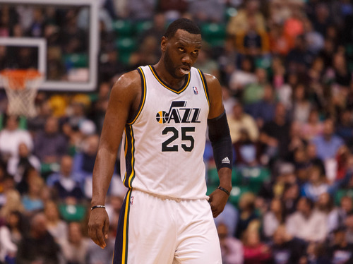 Trent Nelson  |  The Salt Lake Tribune Utah Jazz center Al Jefferson (25) walks downcourt with the Jazz trailing by 18 points in the third quarter as the Utah Jazz host the Atlanta Hawks, NBA basketball Wednesday, February 27, 2013 in Salt Lake City.