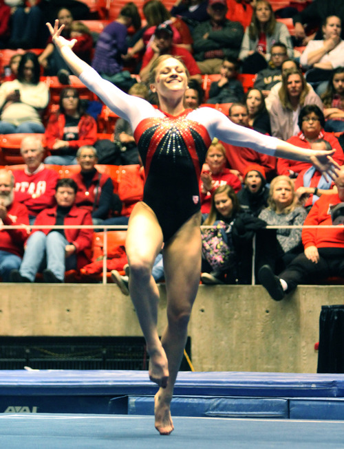 Rick Egan  | The Salt Lake Tribune   Lia Del Priore competes on the floor for the Ute's, in gymnastics action against The University of California, at the Huntsman Center, Saturday, February 9, 2013.
