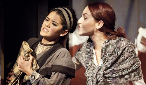 "Lennie Mahler  |  The Salt Lake Tribune Kalyn West and Deena Marie Manzanares rehearse ""Third Crossing,"" a drama by local playwright Debora Threedy, the Rose Wagner Studio Theatre."