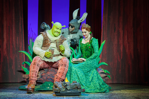 """Perry Sook plays Shrek, with Jeremy Gaston as the talkative Donkey and Whitney Winfield as Princess Fiona, in the national touring production of """"Shrek the Musical,"""" based on the popular DreamWorks film. The musical opens Feb. 26 at Capitol Theatre. Courtesy LvR/paparazzibyappointment"""