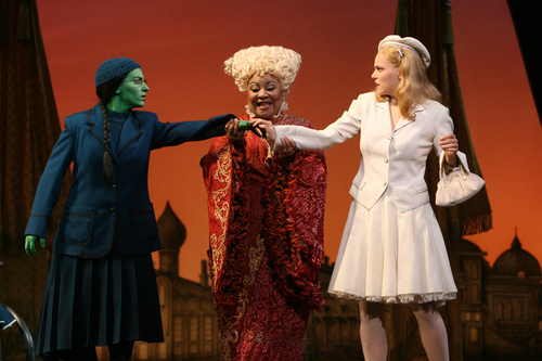 Actors Donna Vivino as Elphaba, Myra Lucretia Taylor as Madame Morrible and Katie Rose Clarke as Glinda perform in Wicked, The Musical.