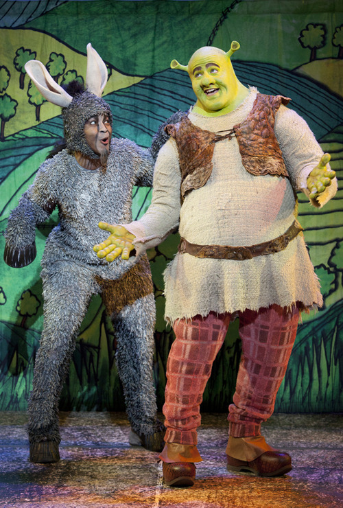 "Perry Sook plays Shrek with Jeremy Gaston as the talkative Donkey in the national touring production of ""Shrek the Musical,"" based on the popular DreamWorks film. The musical opens Feb. 26 at Capitol Theatre. Courtesy LvR/paparazzibyappointment"