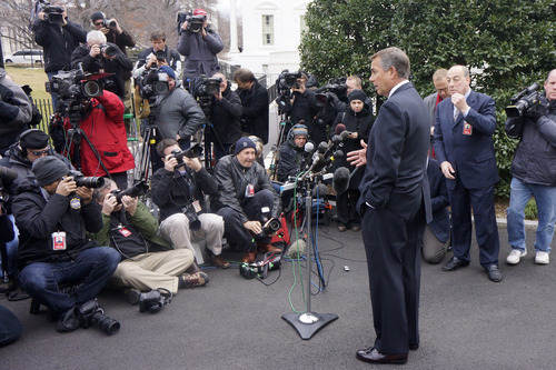 House Speaker John Boehner of Ohio talks to reporters outside the White House in Washington, Friday, March 1, 2013, following a meeting with President Barack Obama and Congressional leaders regarding the automatic spending cuts. (AP Photo/Charles Dharapak)