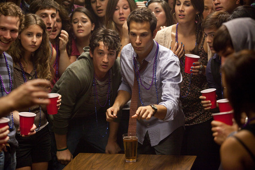 "This film image released by Relativity Media shows Miles Teller, center left, and Skylar Astin in a scene from ""21 & Over"".  (AP Photo/Relativity Media, John Johnson)"