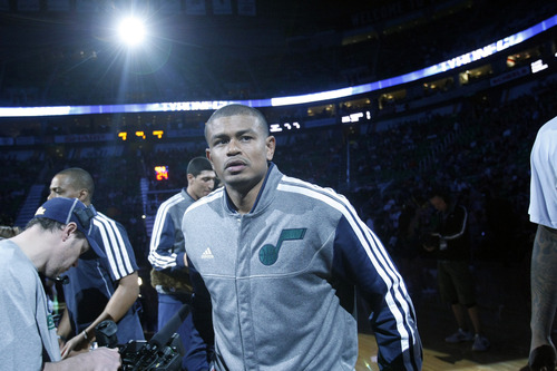 Chris Detrick  |  The Salt Lake Tribune Utah Jazz point guard Earl Watson (11) before the game at EnergySolutions Arena Friday March 1, 2013.