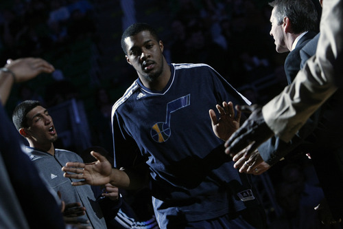 Chris Detrick  |  The Salt Lake Tribune Utah Jazz power forward Derrick Favors (15) is introduced before the game at EnergySolutions Arena Friday March 1, 2013.