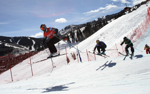 Rick Egan  | The Salt Lake Tribune   John Teller (red) Robert Mahre (blue) Tyler Wallash (green) and Tyler Murray (yellow) in the Men's Ski Cross at the Canyons, Friday, March 1, 2013. Teller finished in first place.