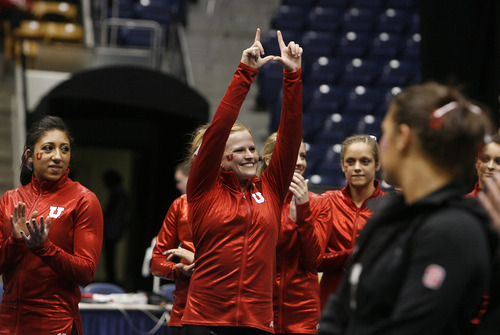 Scott Sommerdorf   |  The Salt Lake Tribune Uth's Tory Wilson is announced at the All-Around winner at a tri meet versus BYU and North Carolina State at BYU, Friday, March 1, 2013. Wilson also won the Vault and Beam competitions as Utah won the team score with 197.125 points to BYU's 195.000, and N.C.St. with 194.675.