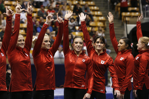 Scott Sommerdorf   |  The Salt Lake Tribune The Utah Red Rocks won a tri meet versus BYU and North Carolina State at BYU, Friday, March 1, 2013. Utah finished with 197.125 points to BYU's 195.000, and N.C.St. with 194.675.