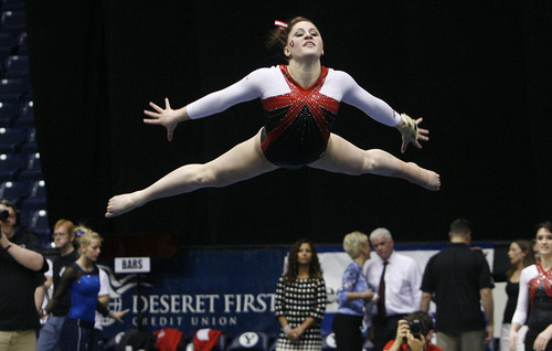 Scott Sommerdorf   |  The Salt Lake Tribune Utah's Becky Tutka scored a 9.925 to win the floor exercise event as The Utah Red Rocks won a tri meet versus BYU and North Carolina State at BYU, Friday, March 1, 2013. Utah finished with 197.125 points to BYU's 195.000, and N.C.St. with 194.675.