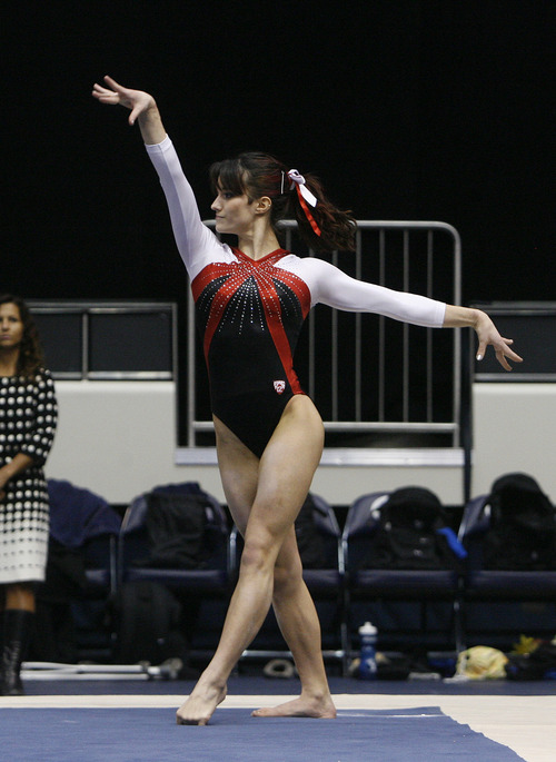 Scott Sommerdorf   |  The Salt Lake Tribune Utah's Nansy Damianova during her 9.850 floor exercise performance as the Utah Red Rocks won a tri meet versus BYU and North Carolina State at BYU, Friday, March 1, 2013. Utah finished with 197.125 points to BYU's 195.000, and N.C.St. with 194.675.