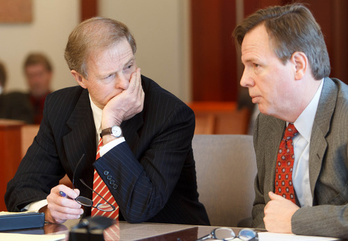 Trent Nelson  |  The Salt Lake Tribune Attorneys Jeffrey Shields and Mark Callister at a court hearing concerning Utah's management of the United Effort Plan Friday, February 15, 2013 in Salt Lake City.