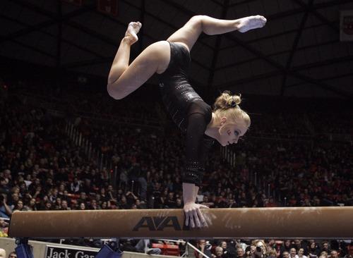 Kim Raff  |  The Salt Lake Tribune University of Utah gymnast Georgia Dabritz performs a beam routine during a meet against Stanford at the Huntsman Center in Salt Lake City on February 23, 2013.