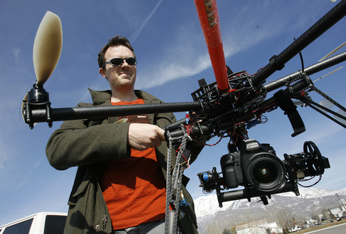 Scott Sommerdorf   |  The Salt Lake Tribune Cinechopper is a one-man business started by Chris Newman in Lindon, who flies a remote controlled drone for shooting aerial photography, Saturday, March 2, 2013.
