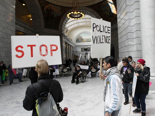 Al Hartmann  |  The Salt Lake Tribune Friends, family and citizens demonstrate in the state capitol iMonday March 4 against what they believe was excessive force by police in the deaths of Danielle Willard, Corey Kanosh and Kelly Simons.