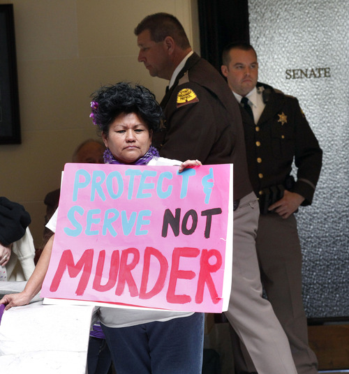 Al Hartmann  |  The Salt Lake Tribune Friends, family and citizens demonstrate in the state capitol in front of the Senate Gallery Monday March 4 against what they believe was excessive force by police in the deaths of Danielle Willard, Corey Kanosh and Kelly Simons.