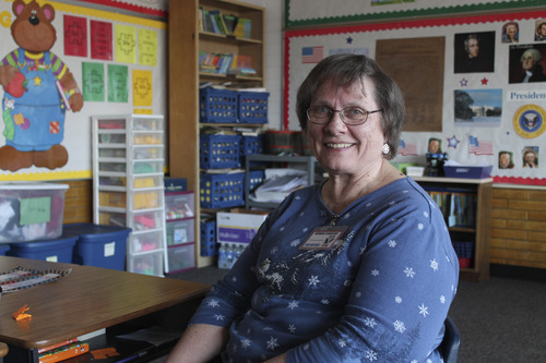 Rinna Waddhany  |  Special to The Tribune Carol Flannery was surprised to learn she had won the Murray Education Foundation's Pinnacle Awards for her volunteer work for the past seven years at Viewmont Elementary.