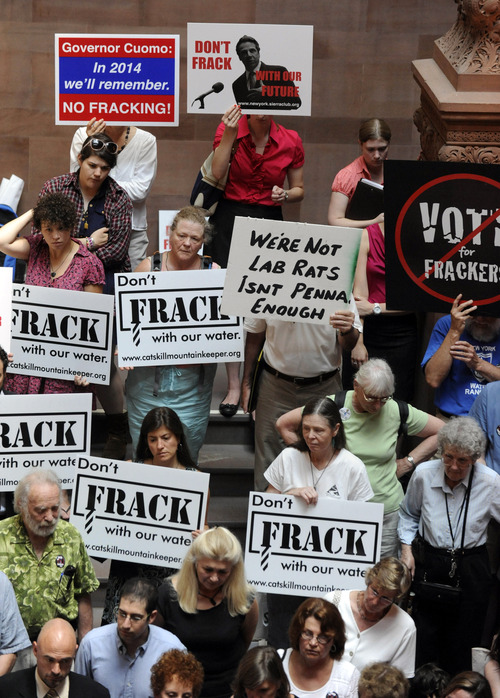 """FILE - In this June 20, 2012 file photo, protesters rally against the oil and gas drilling method known as hydraulic fracturing, or """"fracking,"""" as the legislative session winds down at the Capitol in Albany, N.Y.  In New York, there is a fracking moratorium in effect until a health study is completed. As hydraulic fracturing mobilizes thousands around the country both for and against, industry and some environmental groups in Illinois have come together to draft regulations both sides could live with. Some hope that cooperative approach could be a model for other states. (AP Photo/Tim Roske, File)"""