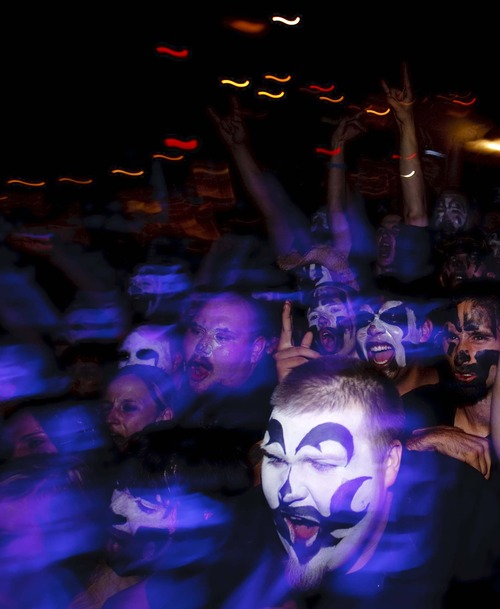 Trent Nelson  |  The Salt Lake Tribune  Juggalos exalt as the hip-hop group Insane Clown Posse takes the stage at The Great Saltair on Oct. 1, 2009.