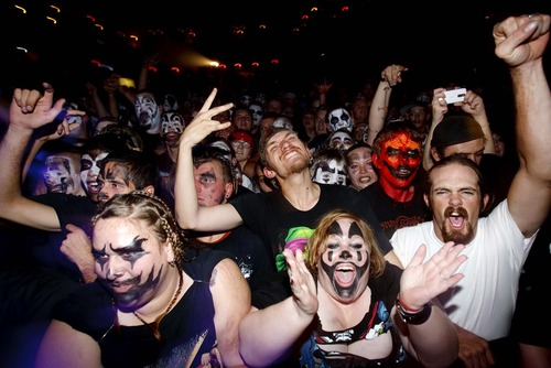 Trent Nelson  |  The Salt Lake Tribune Juggalos exult as the hip-hop group Insane Clown Posse takes the stage at The Great Saltair in 2009.