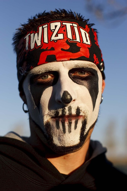 Trent Nelson  |  The Salt Lake Tribune A Juggalo waits in line before the Insane Clown Posse concert at The Great Saltair on Oct. 1, 2009.