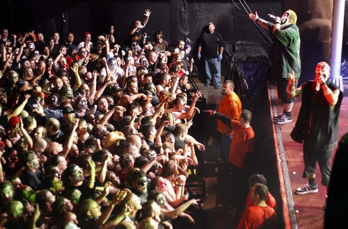 Trent Nelson  |  The Salt Lake Tribune  Violent J (rear) and Shaggy 2 Dope, who make up the hip-hop group Insane Clown Posse, perform to a crowd of Juggalos (ICP fans) at The Great Saltair on Oct. 1, 2009.