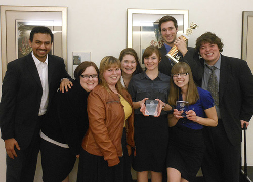 Courtesy of Nicole Bedera Members of the Westminster College Mock Trial team pose with awards from a recent competition. From left to right: Pratik Raghu, Hillary Pierce, Kayela Horrocks-Beyeler, Abbie McKinney, Tallis Radwick, Chris Gibbs, Nicole Bedera and James Steur.
