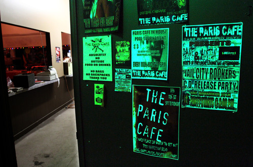 Rick Egan  | The Salt Lake Tribune   Posters from past shows at The Paris Cafe,  Saturday, March 2, 2013. The Paris Cafe is empty on a recent Saturday night, because live music is not allowed in the Ogden strip mall on Harrison Blvd.