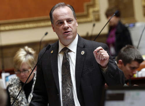Al Hartmann  |  The Salt Lake Tribune Rep. Brian Greene, R-Pleasant Grove, sponsor of HB 114 Second Amendment Preservation Act speaks in the House of Representatives Friday March 8 during debate of the bill.
