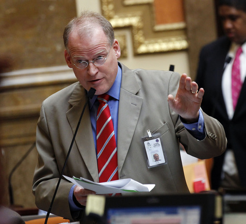 Al Hartmann  |  The Salt Lake Tribune Rep. Kraig Powell, R-Heber City, speaks to ammend  HB 114 Second Amendment Preservation Act in the House of Representatives Friday March 8.