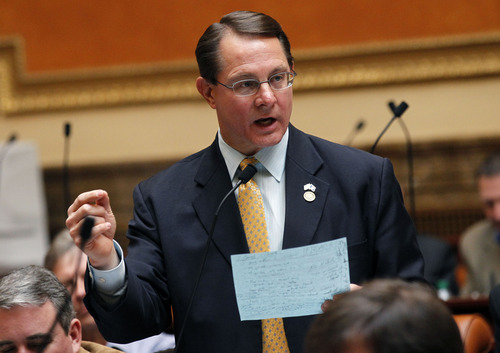 Al Hartmann  |  The Salt Lake Tribune Rep. Ken Ivory, R-West Jordan, speaks in favor of passing  2HB 114 Second Amendment Preservation Act in the House of Representatives Friday March 8.